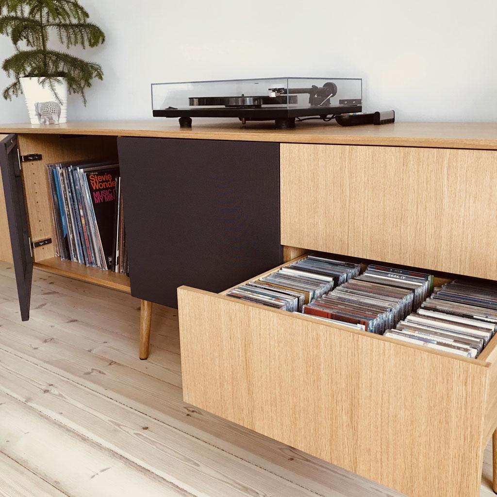 hifi møbel, skuffer, lp'er, cd'er