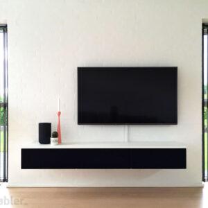 tv møbel 180cm hvid sort stoflåger