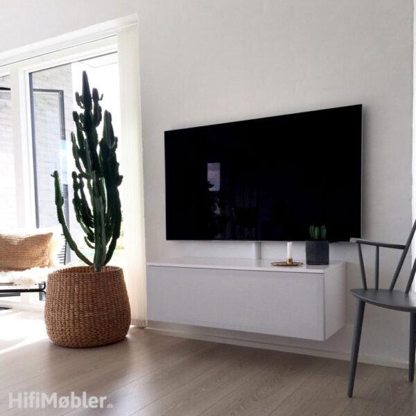 tv møbel hvid med stoflåge